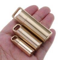 Bottle Holder Brass Waterproof Container Keychain Medicine Capsule Pill Box Case