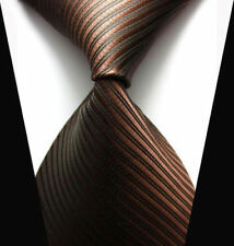 V132 Mens Classic Striped Brown JACQUARD WOVEN Tie 100% Silk Ties Necktie