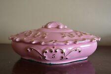 "Paris chic vintage pink embossed gold lustre vanity trinket box dish Marked ""S"""