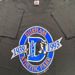 Vintage Fruit of the Loom Durham Bulls T-Shirt 1993 MLB Baseball Medium Black