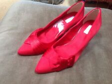UNTOLD UK 6(39) RED SATIN BOW🎀 FRONT POINTED TOE COURT SHOES- PARTY/CELEBRATION