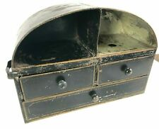 Antique Primitive 19th Century 3 Drawer / 2 Cubicles Tin Cabinet Box Oval Top