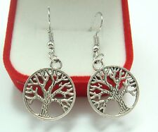 Simple Pageant Chic Lady Earrings Hook ad 925 Silver Plated - Hollow Round Tree