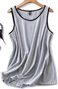 BNWOT SHEIN Light Grey With Black Trim Longline Vest Top - Size 4XL (24)