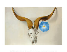 Ram's Head, Blue Morning Glory Art Poster Print by Georgia O'Keeffe, 14x11