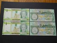 More details for guernsey and jersey pairs of mint uncirculated £1 notes consecutive numbers.