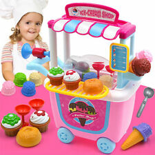 Kids Supermarket Pretend Play Icecream Dessert Toys Set Shop Cart Horn Spoon Toy