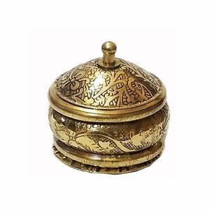 Brass Handmade Golden Color Beautiful Kumkum Sindoor Box(1.5 inch)