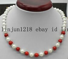 8mm White Sea Shell Pearl Red Coral Gemstone Beads Necklace 18'' AAA