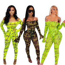 NEW Stylish Women's Long Sleeves Letter Print Off Shoulder Mesh Jumpsuit 2pcs