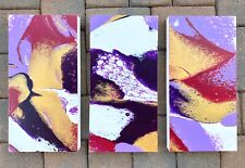 Acrylic Painting 3 Piece Set Of 8x16 Wood Panels Purple Lilac Gold Magenta White