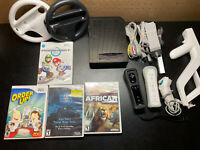 Nintendo Wii Console Bundle - Mario Kart Wii, 2 Controllers, 2 Wheels - TESTED