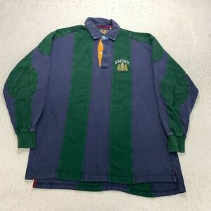 Vintage Emory Long Sleeve Polo Shirt Size XL Green Color Block Embroidered Mens
