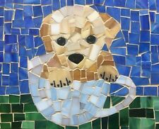 DIY Puppy Mosaic Kit Pre-cut color glass pieces glue instructions all included.