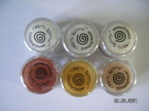 6 x 10ml  Pots of Cosmic Shimmer Embossing Powder. Mixed Colours. Set 1