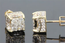 White Sapphire 18K yellow gold filled Brilliant Screwback Stud Earrings Fashion
