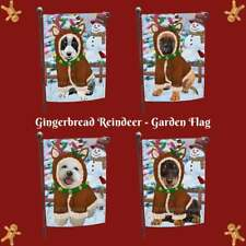 Christmas Gingerbread Reindeer Dog Cat Pet Photo Lovers Decorative Garden Flag