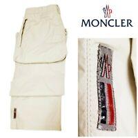 Moncler Men's Tan Rip Stop Cotton Straight Leg Pants Zip Pockets Lightweight Lg