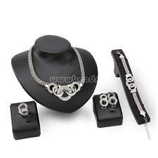 S925 Women Wedding Crystal Earrings & Necklace & Bracelet & Rings Jewelry Set