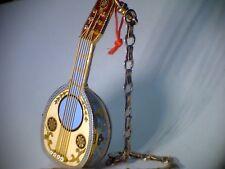 Schmuckuhr Mandoline, Gold, Emaille, Spindelwerk ca. 1850