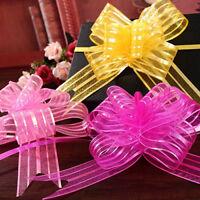 FM- 10pcs 50mm Organza Ribbon Pull Bows Wedding Party Car Decor DIY Gift Wrap Ea