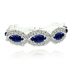 Silver Royal Dark Blue Rhinestones Eye Shiny Bracelet Bridal Jewellery New BB153