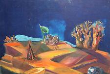 Vintage Gouache Painting Expressionist landscape cannon gun
