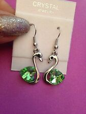 silver plated genuine Crystal Swan Earrings Heart Dangle Drop Hook Green  Gift