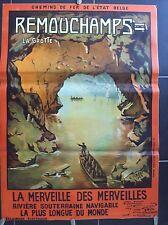 belle affiche ancienne 1923 grotte Remouchamps Amblève spéléologie speleology