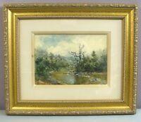 F H SLOAN 1899__Landscape Watercolor__Signed & Framed__ExC__SHIPS FREE