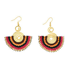 """2 1/4"""" Pink Multi-Color String Wrapped Spiral Half Circle Gold Dangle Earrings"""