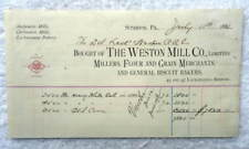 1882 BILLHEAD SCRANTON PA THE WESTON MILL CO FLOUR GRAIN MERCHANTS RAILROAD #B6W