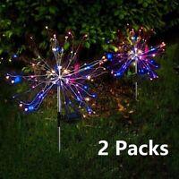 2pcs Solar Firework Starburst Fairy Lights Stake Outdoor Garden Path Lawn Lamp