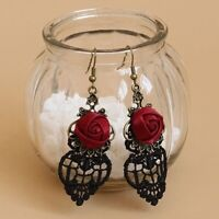 Vintage Gothic Vampire Halloween Black Lace Red Rose Flowers Dangle Earrings