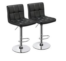 NEW Set of 2X Adjustable Topeakmart Square Black Counter Stools Swivel Barstools