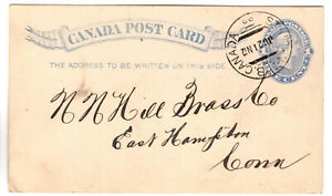 Canada 1892 Queen Victoria Rosette 1c Blue Post Card St JOHN NB Postmark (33)