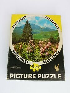 """Vintage TUCO 15"""" Round Picture Jigsaw Puzzle """"Western Pasture"""" 300+ Pcs"""
