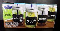 Mason Jar Set Of 4 Glasses of 16 Ounce Chalkboard Beverage New