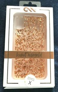 Case Mate Karat Case for Apple iPhone X iPhone XS - Rose Gold Flakes / Clear