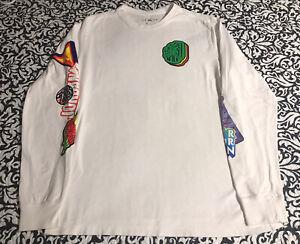 NIKE Men's AIR JORDAN Long Sleeve Wings Basketball Tee Shirt White SIZE: LARGE
