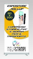 ESPOSITORE ROLL UP 80X200 COMPRESO STAMPA BANNER IN PVC E BORSA PER IL TRASPORTO
