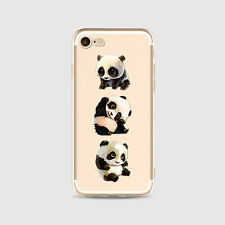 For Apple iPhone Models Clear PANDA Pattern Slim Rubber Soft Silicone Case Cover