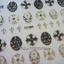 3D Antique Silver Sacred Cross Design Nail Art Decals Sticker #07030S-L Free P&P