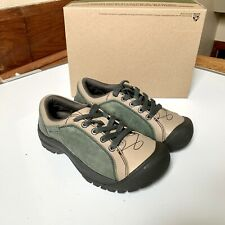 KEEN Briggs Cap Toe Lace Up Hiking Walking Shoes Green Tan Leather 1011398 US 5