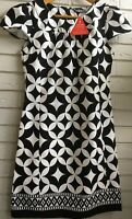 NWT SOUTH BLACK & WHITE FLORAL ROUND NECKLINE DRESS UK 12