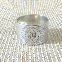 Antique Christofle Guilloche Napkin Ring Arabesque Engraving PM Monogram