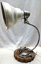 VINTAGE BRASS ELEPHANT DESK TABLE LAMP HEAVY METAL BASE WITH FISH SHAPE PIN BOX