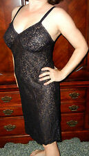 GREAT FIND!!! ST MICHAELS SEXY VINTAGE BLACK SHEER LACE NYLON FULL SLIP 34 EVC