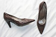 John Lewis Size 7 UK 40  Shoes Brown Real Leather Snake Effect Stiletto Heel