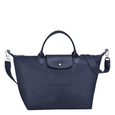 NEW Authent Longchamp Le Pliage Neo crossbody tote handbag Medium Black & Blue
